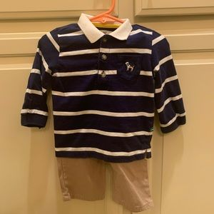 Little Me 2 piece set Striped Puppy Dog Khaki pant